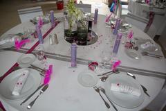 Interior of a wedding banquet in restaurant, reception venue tables. - stock photo