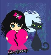 Sad emo girl and her cat. Stock Illustration