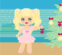 Stock Illustration of sweet girl hanging ornaments on a Christmas tree.
