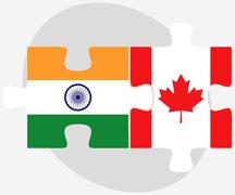 India and Canada Flags in puzzle - stock illustration