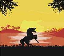 silhouetted horse  on sunset - stock illustration