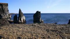 Prehistoric ocean  landscape coastline, sea stacks, Reykjanes, Iceland Stock Footage