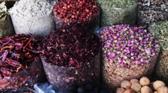Pan shot of spice market in Dubai, United Arab Emirates Stock Footage