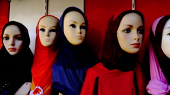 Pan shot of female mannequins at a clothing store, Dubai, United Arab Emirates Stock Footage