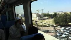 Tracking shot of city view from Dubai metro train, Dubai, United Arab Emirates Stock Footage