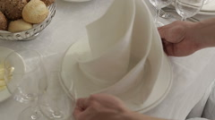 The waiter nicely served at the table Stock Footage