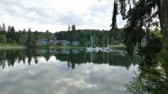 Zoom in - Peaceful harbor morning Bainbridge Island Washington - 4K UHD 0101 Stock Footage