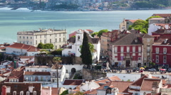4K timelapse of Lisbon rooftop from Sao Vicente de fora church  in Portugal - UH Stock Footage