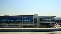 Tracking shot of Dubai city from Dubai Metro, United Arab Emirates Stock Footage