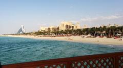 Jumeira Beach and Hotels, Burj Al Arab, Dubai, United Arab Emirates Stock Footage