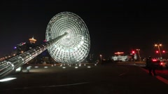 Night view of Sundial at the Pu Dong Century Boulevard, Shanghai, China Stock Footage