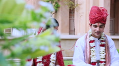Indian bride and groom, Hotel Amar Villas, Agra, Uttar Pradesh, India Stock Footage