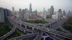 Time lapse: heavy traffic interchange road at Shanghai Stock Footage