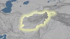 Afghanistan outlined and glowed. Neighbourhood. Elevation Stock Footage