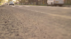 Сars go on the road at sunset - stock footage