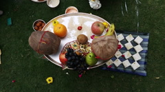 Religious offerings in wedding at Hotel Amar Villas, Agra, Uttar Pradesh, India Stock Footage