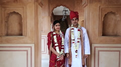 Indian bride and groom at Hotel Amar Villas, Agra, Uttar Pradesh, India Stock Footage