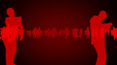 A crowd of silhouettes dancing, overall red theme, constant motion. Looping. - stock footage