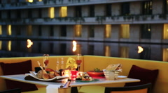 Dinner with drinks served on table at Oberoi Hotel, Gurgaon, Haryana, India Stock Footage
