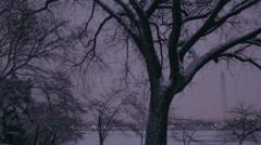 Washington monument in winter Stock Footage