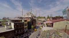 View of the Blue Mosque from the roof of the house Stock Footage