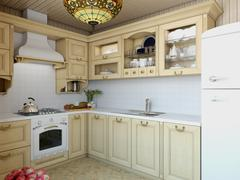 3d illustration cozy kitchen in the house of the carcass - stock illustration