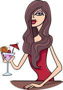 Stock Illustration of woman in pub cartoon illustration
