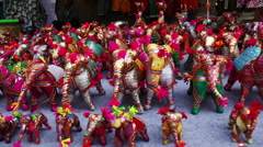 Pan shot of craft products for sale at Dilli Haat, Delhi, India Stock Footage
