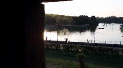 Shot of lake at Chhatarpur Temple, New Delhi, India Stock Footage