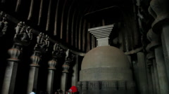 Pan shot of Stupa at the Karla Caves, Lonavala, Pune, Maharashtra, India Stock Footage