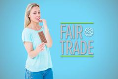 Stock Illustration of Composite image of pretty blonde feeling guilty to eat bar of chocolate