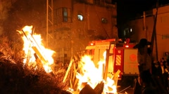 Firefighters protect the population of Hasidic Jews during Lag Baomer Stock Footage