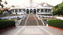 Locked-on shot of the Universal Peace Hall, Mount Abu, Rajasthan, India Stock Footage
