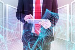 Composite image of businessman scrolling on his digital tablet - stock illustration