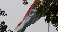 Shaky shot of an Indian Flag fluttering Stock Footage
