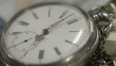 Pocket watch dial closeup, hands moving. Time flying by, history Arkistovideo