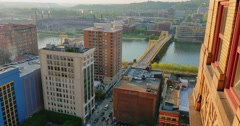 High Angle Establishing Shot View of Pittsburgh Stock Footage