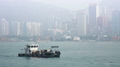 HONG KONG, CHINA - CIRCA JAN 2015: Sea Cleaner 4, a catamaran hull utility bo Stock Footage