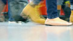 HONG KONG, CHINA - CIRCA JAN 2015: Feet and legs of hundreds of commuters, pa Stock Footage