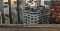 Empty Ledge at Top of Tall Pittsburgh Building Stock Footage