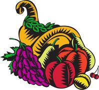 Cornucopia Fruit Harvest Woodcut Stock Illustration