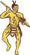 Stock Illustration of Maori Chief Warrior Holding Taiaha Etching