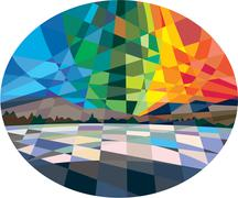 Stock Illustration of Northern Lights Aurora Borealis Low Polygon