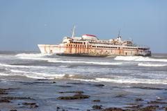 Ferryboat stranded on the shore Stock Photos