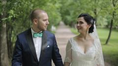 Wedding Couple is Walking Stock Footage