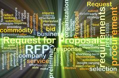 Request for proposal RFP background concept glowing Stock Illustration