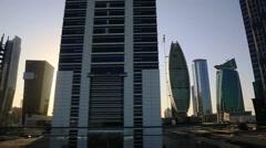 Tracking shot of modern city buildings, Dubai, United Arab Emirates Stock Footage