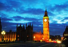 The Elizabeth Tower as seen from the Westminster bridge - stock photo
