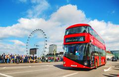 Iconic red double decker bus in London, UK Stock Photos