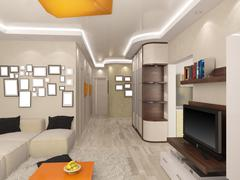 3d rendering of a living room and kitchen in beige tones Stock Illustration